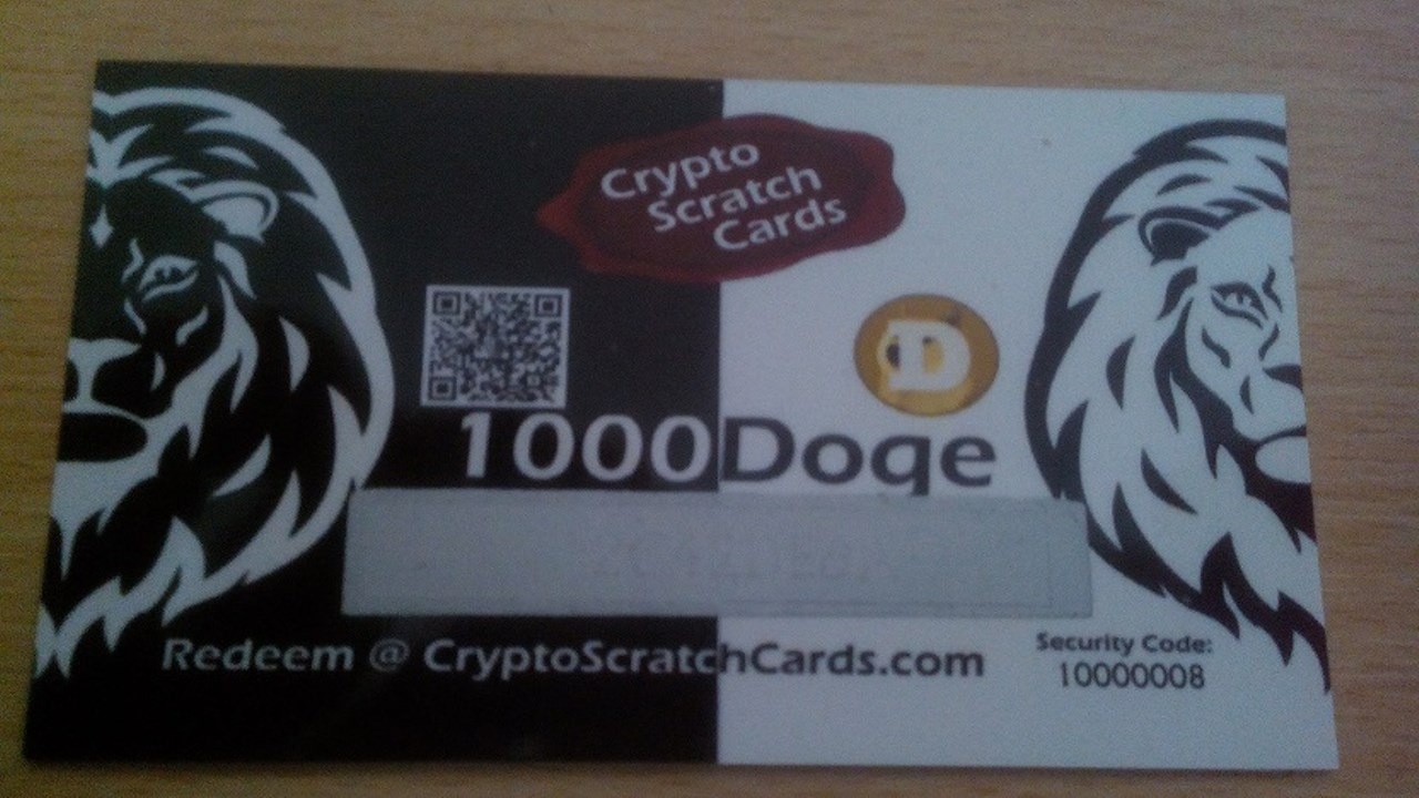 Prypto 1000 dogecoin scratch card